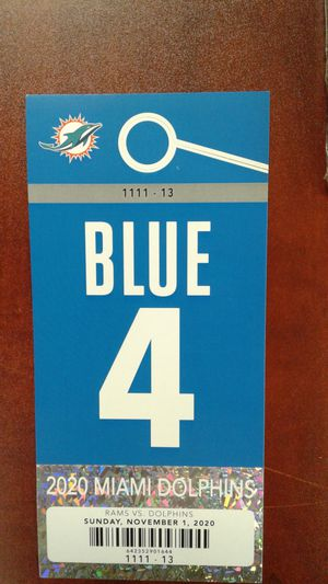 Miami Dolphins vs Rams Blue Parking pass 11/1 for Sale in Sunrise, FL