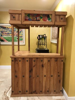 Gorgeous Huge Bar. Rustic style with stained glass look accent. Solid wood throughout. Wine Rack, wineglass rack, drawer and shelves for Sale in West Palm Beach, FL