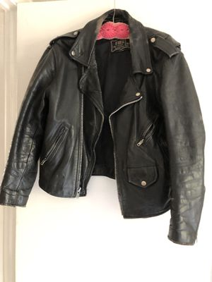 Authentic black leather motorcycle jacket for Sale in Hollywood, FL