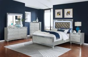 4 piece queen bedroom set with lights twin bed frame dresser mirror nightstand for Sale in Antioch, CA