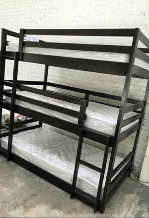Twin size Triple Bunk bed 2 FREE MATTRESS for Sale in Las Vegas, NV