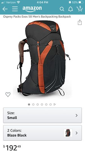 Osprey exos 58 backpacking hiking outdoors survival ultralight size small for Sale in Glendora, CA
