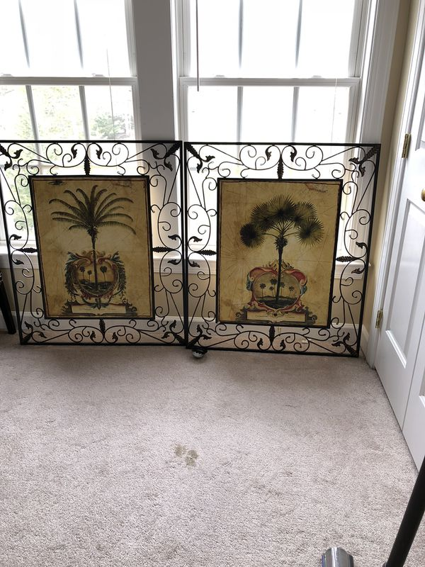 """Two New huge metal hand painted wall art 34""""X40"""" $70 for one piece"""