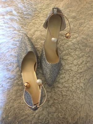 Silver pointy toe women pumps heels for Sale in Greenbelt, MD
