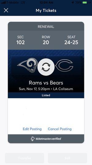 Bears vs Rams November 17 (11/17) $220 each obo for Sale in Los Angeles, CA
