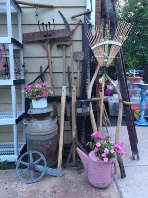 ANTIQUE, PRIMATIVE, GARDENING TOOLS, RAKES, HOE, SICKLE, BOTTLE CAP OPEN ER, CRATES, WOODEN BOXES, ETC........ for Sale in Potomac Falls, VA