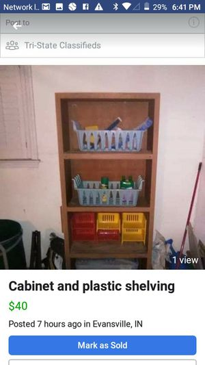 Cabinet and the plastic shelves for Sale in Evansville, IN