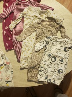 NEWBORN BABY CLOTHES .USED 1X. 14 ONESIES FOR $60.GET 4 FREE PAIRES OF SOCKS SINGLES ARE $4.50 EACH. for Sale in Duarte,  CA