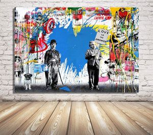 Chaplin & Einstein Pink Canvas Painting Wall Art Print Poster Modern Home Dining Bedroom Office Hallway Lobby Decor Abstract Gift New for Sale in Queens, NY