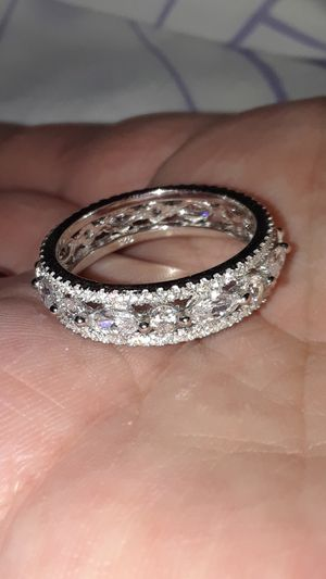 Diamond Cubic Zirconia Band Solid Silver Sz 7 for Sale in Vancouver, WA