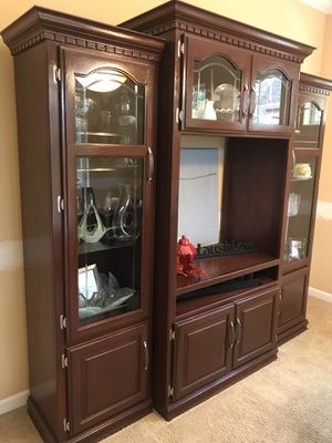 Wood 3 pice Modular Media Center With Glass Doors for Sale in University Place, WA