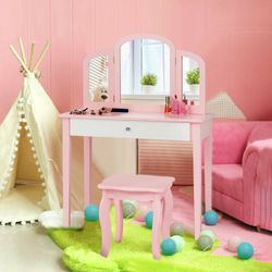 Kids Princess Make Up Dressing Table with Tri-folding Mirror & Chair for Sale in Walnut,  CA