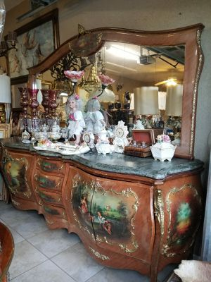 Antique large furniture bombay cabinet or console table w mirror for Sale in Tampa, FL