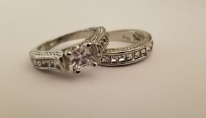 Awesome white sapphire silver ring set size 7 for Sale in League City, TX