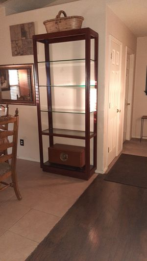 Tall .all glass sheves beveled and wood real nice for Sale in Payson, AZ