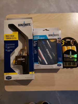 Bernzomatic Torch, soldering iron kit, and butane lighter refils for Sale in Slinger, WI