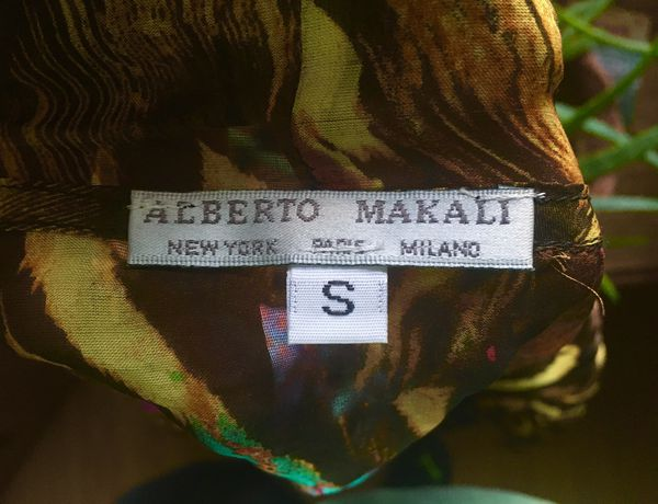 ALBERTO MAKALI multi-colored silk fringed cardigan shawl from NORDSTROM (Size S)