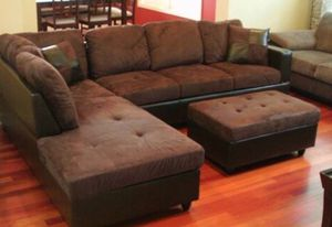 Brown microfiber sectional couch and storage ottoman for Sale in Tacoma, WA