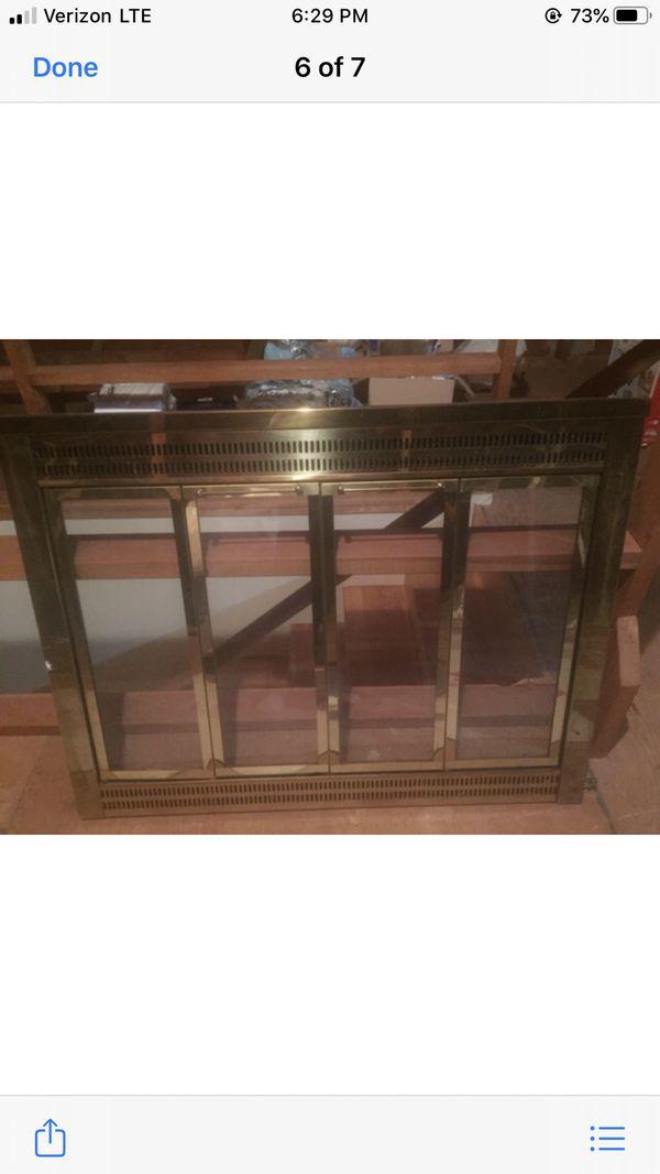Brass Fireplace Screen w/bi fold glass doors