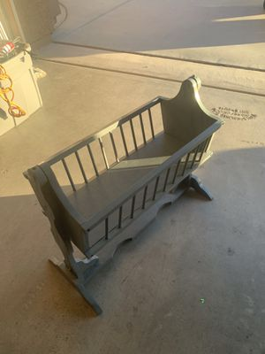 Good Condition Wood Gray Doll Crib for Sale in Gilbert, AZ