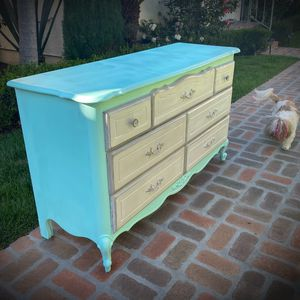 SHABBY CHIC! Tiffany Blue/Teal Paint-Out Original Vintage Antique French Country/Provincial Dresser STURDY/STABLE Delivery Available for Sale in San Diego, CA