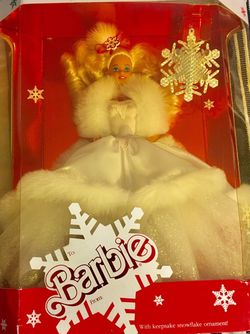 1989 Barbie Happy Holidays Has a crack in plastic on original box. (See pics) for Sale in Palo Alto,  CA