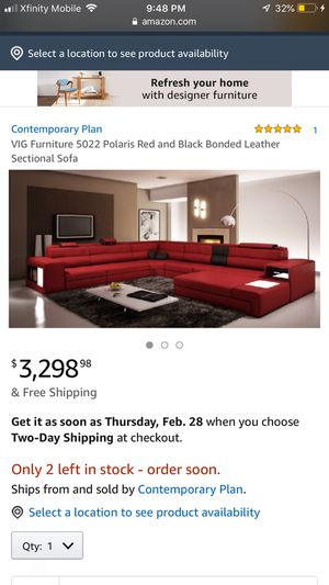 Modern VIG Polaris Red and Black Bonded Leather Sectional Sofa for Sale in Waltham, MA