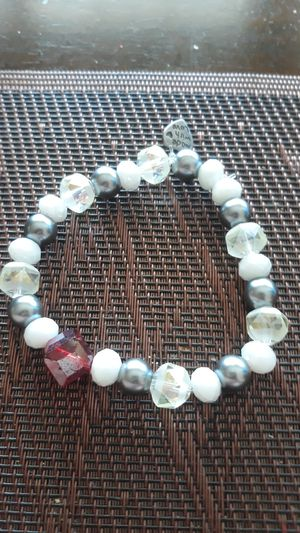 "Handcrafted Hildie & Jo. Faux Pearl glass bracelet with a charm ""made with love"" for Sale in Montclair, CA"