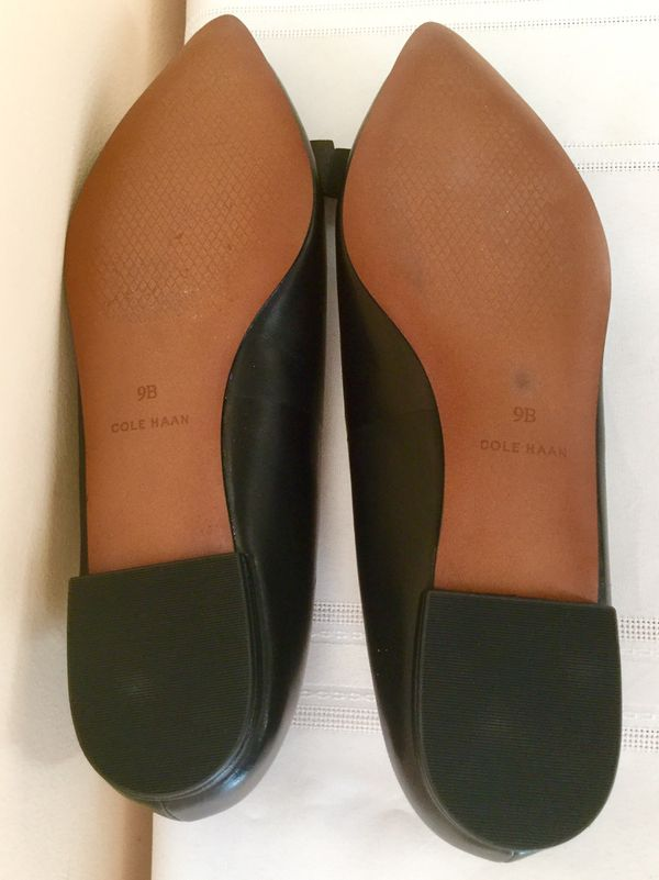 New Women's Black Cole Haan Elsie Leather Bow Skimmer Flat Size 9 B (Medium)