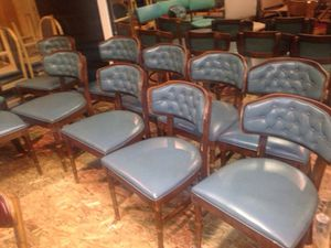 Unique wood and blue chairs 12 for Sale in Caledonia, MI