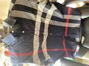 MEN XXL BURBERRY PLAID NAVY BLUE . (Never worn / tried on but back in suitcase too small) for Sale in Antioch, CA