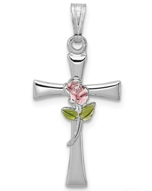 Sterling Silver Cross with Rose Pendant for Sale in Wichita, KS