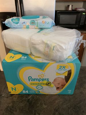 New Pampers swaddles with baby Wipes for Sale in Buckeye, AZ