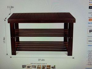 HOMFA bamboo shoe rack 3 tier shoe organizer storage shelf dark brown for Sale in Ontario, CA