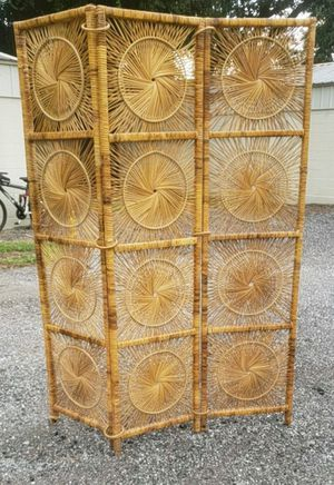 Vintage 3 Panel Folding Rattan Screen Room Divider for Sale in Milton, FL