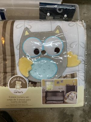Carter's Owl Theme 3 piece nursery set plus bumper and sheets for Sale in Columbus, OH