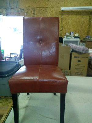 Set of four chairs. Leather seats, wood frames. for Sale in Helper, UT