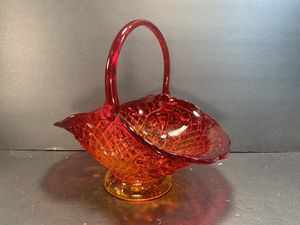 "FENTON Vintage Red/Orange Fruit/Diamond/Lace Glass Basket (Height: 10-1/2"") for Sale in Dade City, FL"