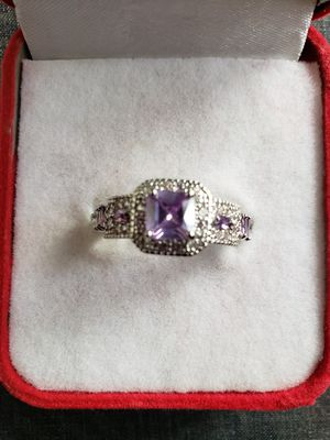 Women fashion bridal jewelry emeraid cut amethyst and pink topaz mortganite gemstone silver ring size 8 for Sale in Moreno Valley, CA