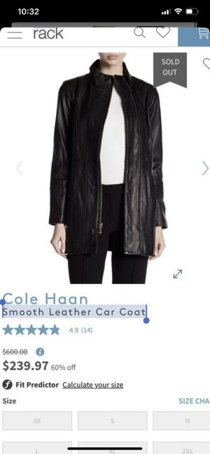 Cole Haan Smooth Leather Car Coat XS for Sale in Los Angeles, CA