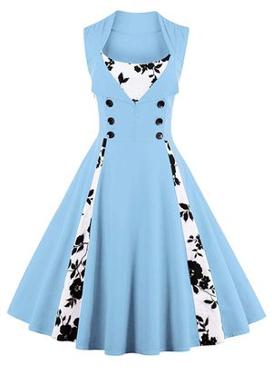 Blue black and white floral women's vintage 1950s swing cocktail dress for Sale in Olympia, WA