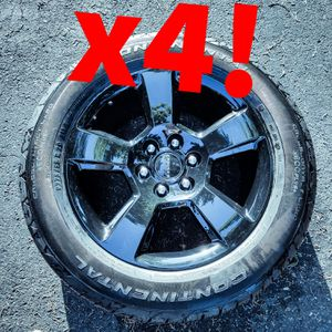 """BRAND NEW! Factory Chevrolet jet black Rims 22"""" x4! (Comes with tires, wheel nuts, and wheel caps) GREAT DEAL!!! for Sale in Dunkirk, MD"""