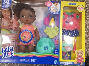 Baby alive african american doll with bonus for Sale in Norfolk, VA
