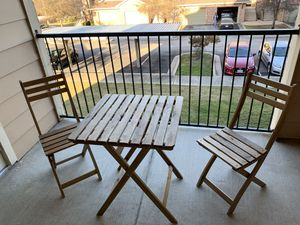 Outdoor Foldable Wood Furniture including 2 chairs and 1 table for Sale in Austin, TX