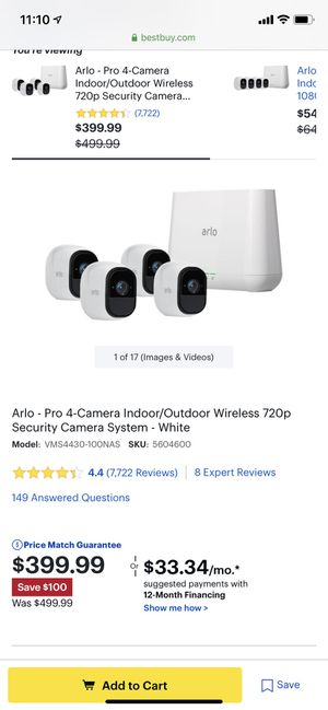4 Arlo Pro cameras w/ mounts and base for Sale in Kissimmee, FL