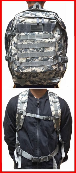 NEW! Camouflage Tactical military style Backpack molle camping hiking fishing work gym flag school book travel bag for Sale in Carson, CA