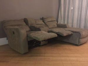 Suede Recliner Sectional Loveseat Sofa Couch for Sale in Brooklyn, NY