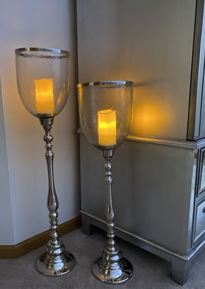 Pier 1 Floor Standing Silver & Glass Pillar Candle Holders for Sale in Batavia, IL