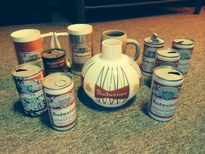 Collection of old Budweiser cans. Glass shade and can lighter for Sale in Parma, OH