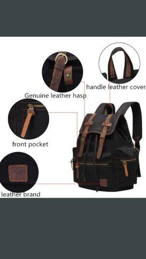 VEEVAN backpack canvas leather men's backpacks high quality women backpack brand designer men's travel bags laptop school bag (khaki color) for Sale in Coraopolis, PA